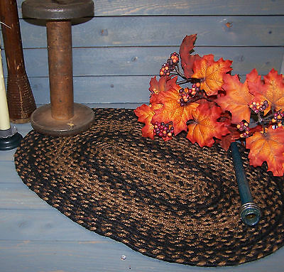 Vntg Style Oval Braided Homespun PlaceMat~~Black & Tan~Colonial~Primitive~Decor