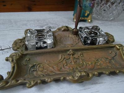 Vintage Ornate Brass Antique Inkwell with Pen Holder -  2 Glass Ink Pots