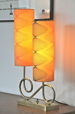 Atomic Mid Century Eames brass Danish 'BLOMSTR' Lamp with new bespoke shades