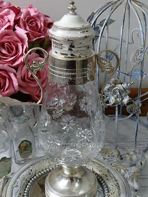 Vintage Glass Apothecary Jar Silver Lid handles Base - French Shabby Chic Jar