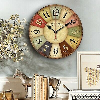 Vintage Rustic Wooden/3D Wall Clock Kitchen Antique Shabby Chic Retro Home Decor