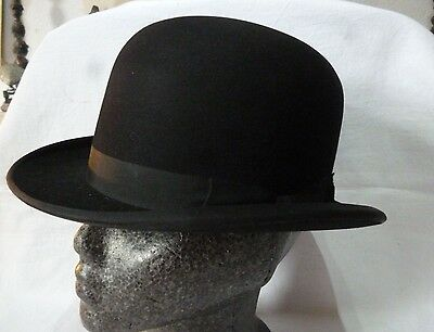 VINTAGE post war all fur BLACK BOWLER HAT by CHRISTYS of LONDON,size 6 & 3/4's