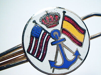 Spain & U.s. Royal Navy Anchor Crown Flags Cloisonne Gold Metal Alliance Tie Bar