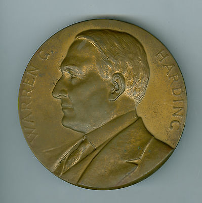 Lg 1923 BZ President Warren G. Harding Inaugurated 1921, Died 1923 Medal, 3 Inch