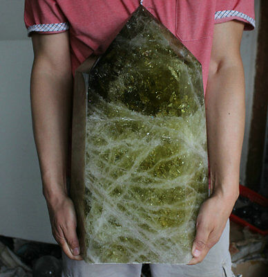 76.7LB Huge Natural Rainbow Smokey Citrine Quartz Crystal Point Polished Healing