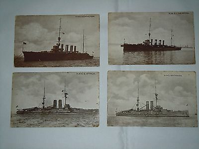 4 Royal Navy Postcards - Warships, Black And White, Near Mint, Unused