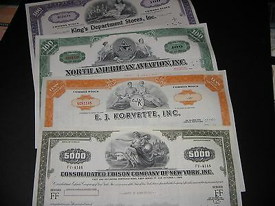 Lot Of 4 Stock Certificates