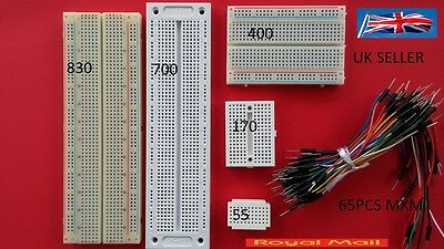 Breadboard 830 700 400 170 55 Point 65Pcs Jumper Uk Seller
