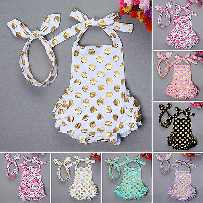 2PCS Newborn Baby Girl Backless Floral Romper Headband Set Summer Clothes Outfit
