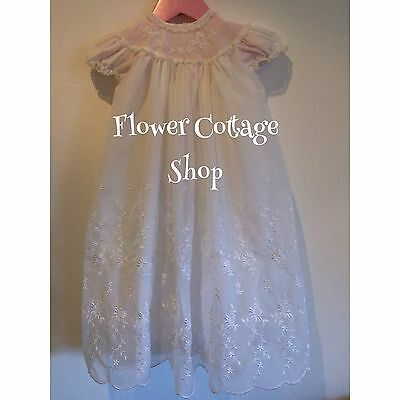Vintage 60s Beautiful English White Embroidered  Christening Gown Robe Dress