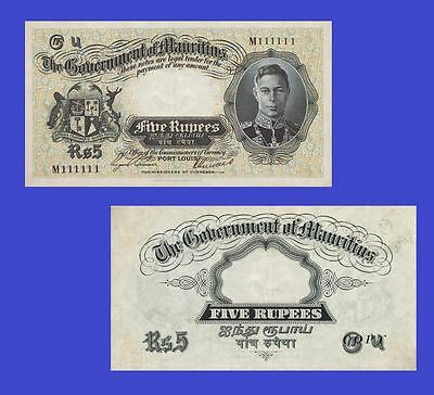 Mauritius 5 Rupees 1937 King George VI. UNC - Reproduction