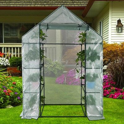6 Shelf 56x29x77 2-Tier Mini Portable Greenhouse Plant Flower Garden PE Cover