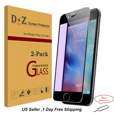 2x 9H Anti Blue Ray Tempered Glass Full Screen Protective Film for iPhone 7 plus