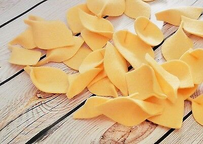 100% merino wool felt leaves in APRICOT (peach) color, 36 leaves (about 2 cups)