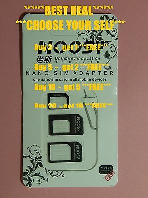 4 IN 1 PACK NANO TO MICRO & STANDARD SIM CARD ADAPTER FOR VARIOUS MOBILE Phone