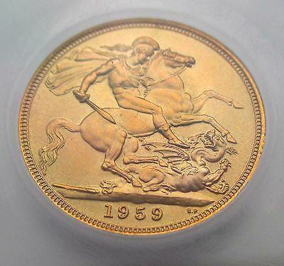 1959 Sovereign graded as Brilliant uncirculated CGS82