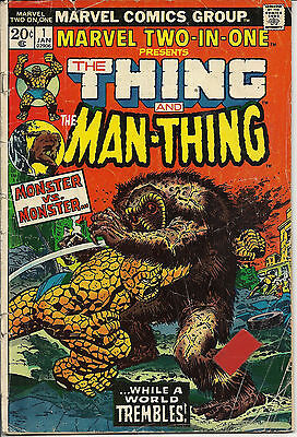 Marvel Two-In-One #1 (Jan 1974, Marvel) VG/FN, Thing & Man-Thing