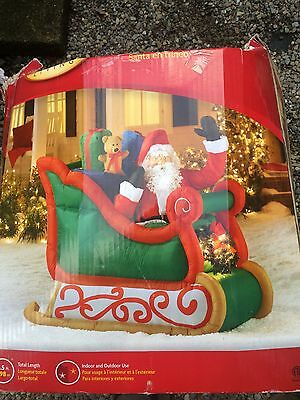 Santa In Sleigh Inflatable. 6 1/2  Ft Long. With Box