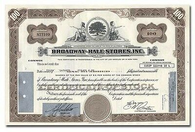 Broadway-Hale Stores, Inc. Stock Certificate (Famous Retailer)