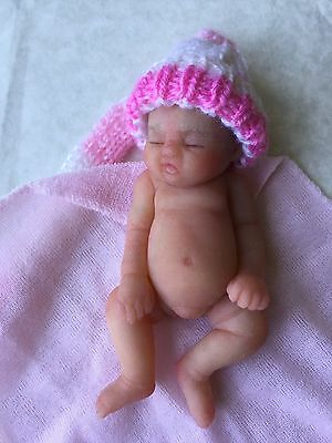 """Miniature Full Body Solid Silicone Baby Girl Doll 6"""" By Debbie Henshaw TNGUN"""
