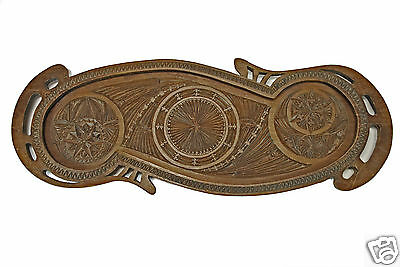Antique Frisian Hand Chip Carved Wood Serving Tray, Dutch.
