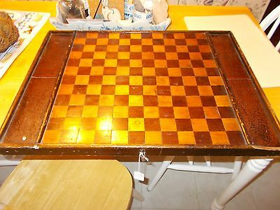 Late 1800S Early 1900S Checkerboard Gameboard Org Brown Paint Alligator Finish