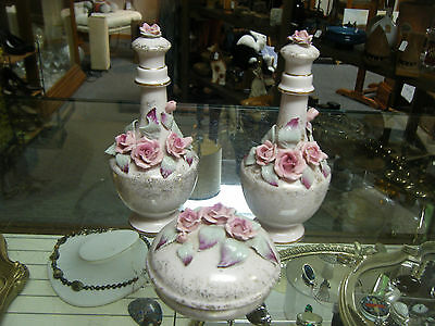 Beautiful Antique Lefton Exclusives Hand Painted Dresser Set w/ 2 Perfume Bottle