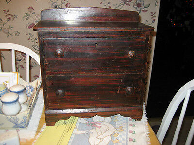 Middle 1800S Miniature Two Drawer Grain Painted Chest All Original Wonderful Pai