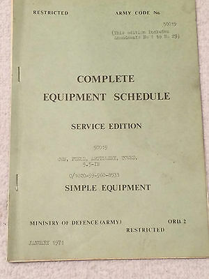 Complete equipment schedule.Service edition.Army code.50019. January 1971.