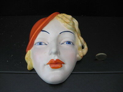 Very Rare Vintage Beswick England  Art Deco Wall Mask Lady In Red Beret 197
