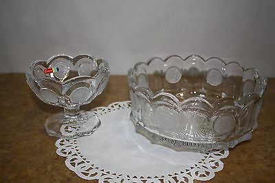 "2 Vintage Fostoria Clear Glass Coin Jam/Jelly 4 1/2"" and Round Bowl 7 3/8"""