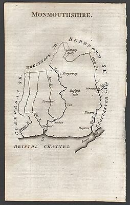 1790 Antique County  Map - Aikin - Monmouthshire,abergavenny,usk,chepstow