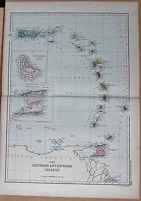 1890 Large Victorian Map - The Leeward And Windward Islands, Inset Barbados Trin