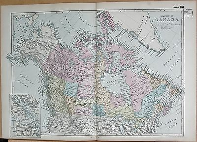 1890 Large Victorian Map - Dominion Of Canada, Inset Of Vancouver
