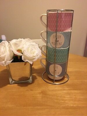 Set Of Four Shabby Chic Style Blue White Stackable Mugs Coffee Tea Cups