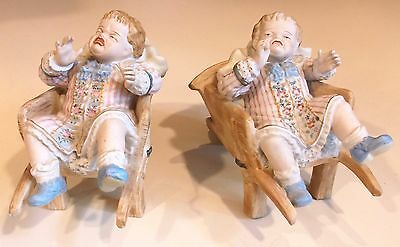 2 Antique Porcelain Bisque Crying Baby Figurines Piano Babies, Ardalt Lenwile