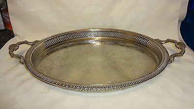 Vintage Large Twin Handled Oval Silver Plated Serving Tray With Raised Gallery