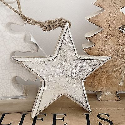 Rustic Chunky Hanging Star White Washed Shabby Style Chic Home Decor Scandi Styl