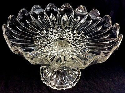 Crystal Fruit Stand Compote Clear Flint James B Lyon Glass 1860 Pittsburgh EAPG