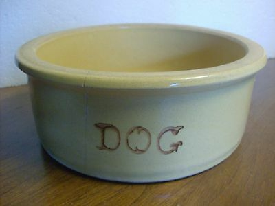 Vintage Robinson Ransbottom 'Yellow-ware' Dog Bowl #200-9, 10 1/2 Inches Wide