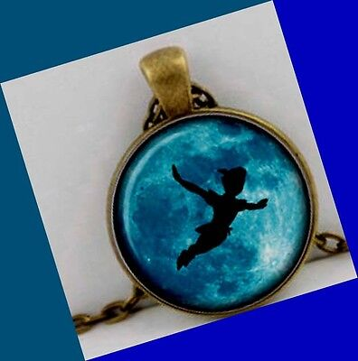 Peter Pan & Tinkerbell unique Charm bronze plate Pendant w free chain Necklace