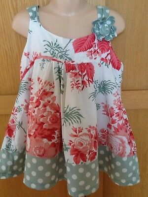 MONSOON, age 9-10, coral, green & white floral smock tunic top