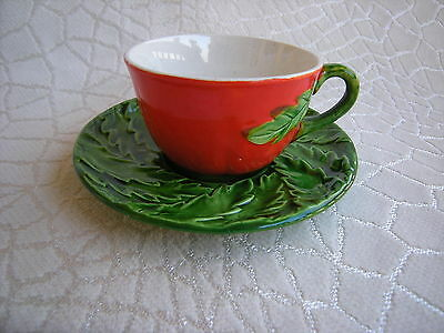Mid Century Red Tomato Ware Cup and Saucer