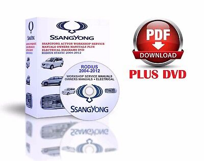 Ssangyong Rodius Stavic 2004-2012 Workshop Service Manuals Owners Manuauls Dvd