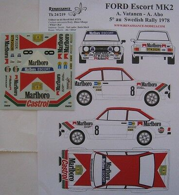 FORD ESCORT 1800 RS n° 8 RALLYE DE SUEDE 1978 DECAL 1/24e RENAISSANCE