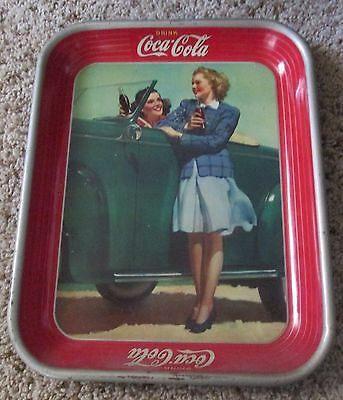Coca-Cola Two Girls Old Car Holding Coke Serving Tin Tray Free Ship