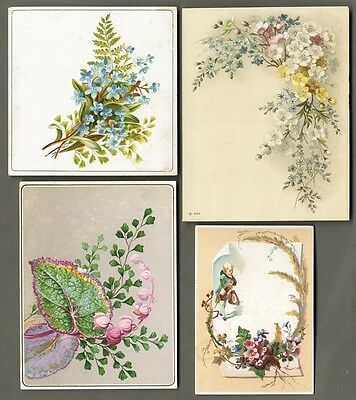 BEAUTIFUL FLOWERS - 4 Victorian Greeting Cards 1880's - Colorful Foliage