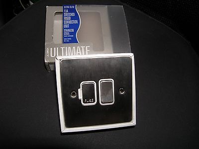 "GET ""Ultimate"" Switched Fused Outlet / Spur, Stainless Steel GU5210WSS Schneider"