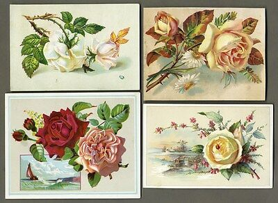 VICTORIAN ROSES - 4 Cards 1880's - Country Scenes Sail Boat Greeting Cards