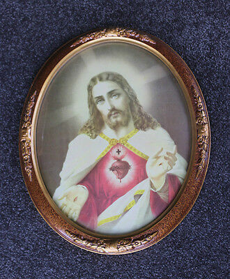 Vintage Gilded Oval Frame With Glass Featuring Religious Picture Of Jesus Christ